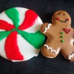 Christmas Sugar Cookies, a gingerbread man and giant swirled candy