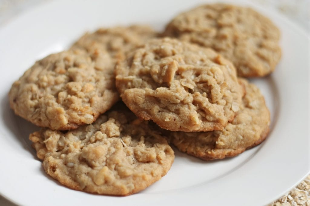 Plate of Oatmeal Peanut Butter Cookies