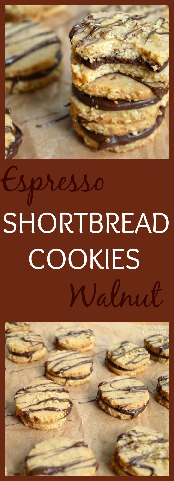 A delicious grown-up Shortbread Cookie that is full of espresso and walnuts and smothered in a chocolate ganache!