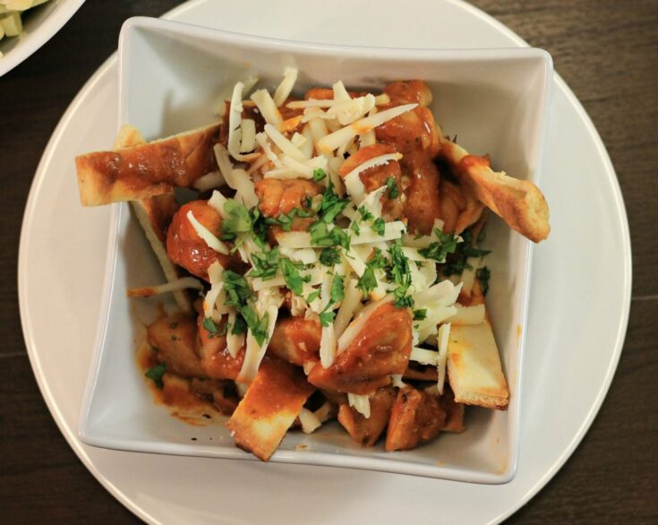 Butter Chicken Poutine with Naan Bread Fries