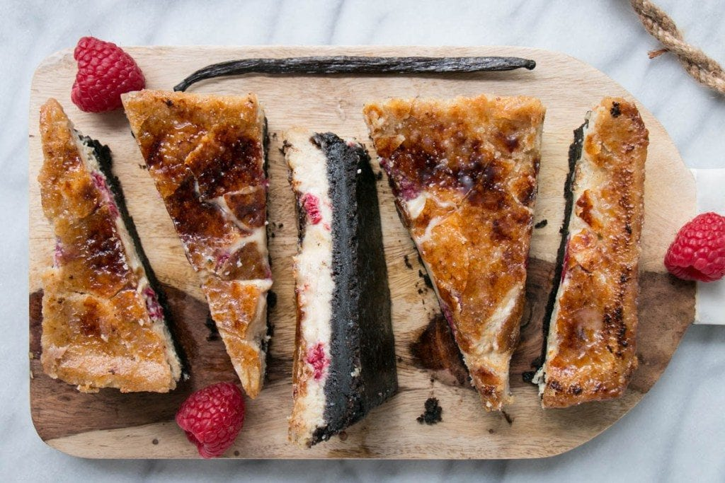 slices of creme brule bars on wooden cutting board