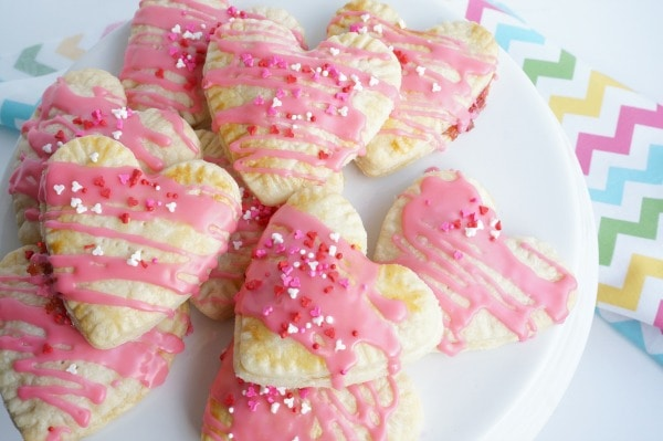 white plate with heart shaped homemade pop tarts