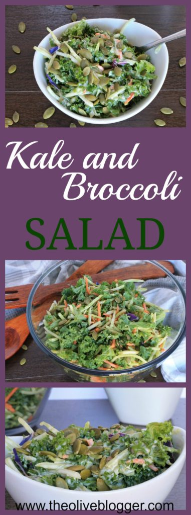 This Kale and Broccoli Salad is loaded with flavor from the cabbage, kale and broccoli to the creamy dressing and pepitas that you put on top! A new favorite salad for any night of the week that is pretty enough for BBQs, picnics and family events too!