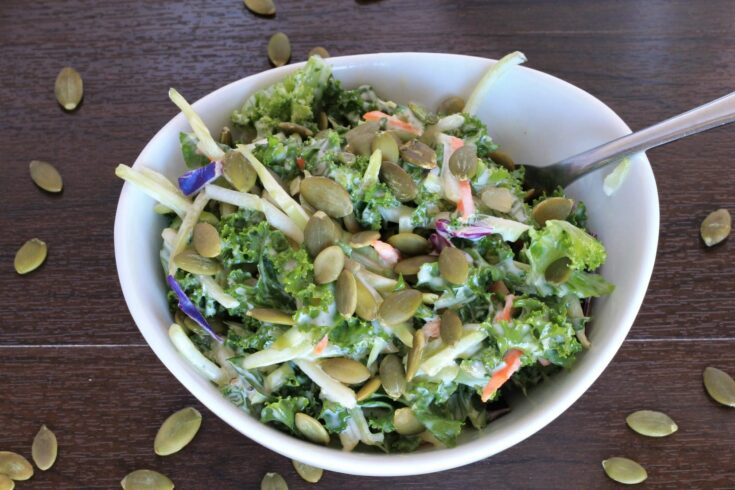 Kale and Broccoli Salad with Creamy Coleslaw Dressing