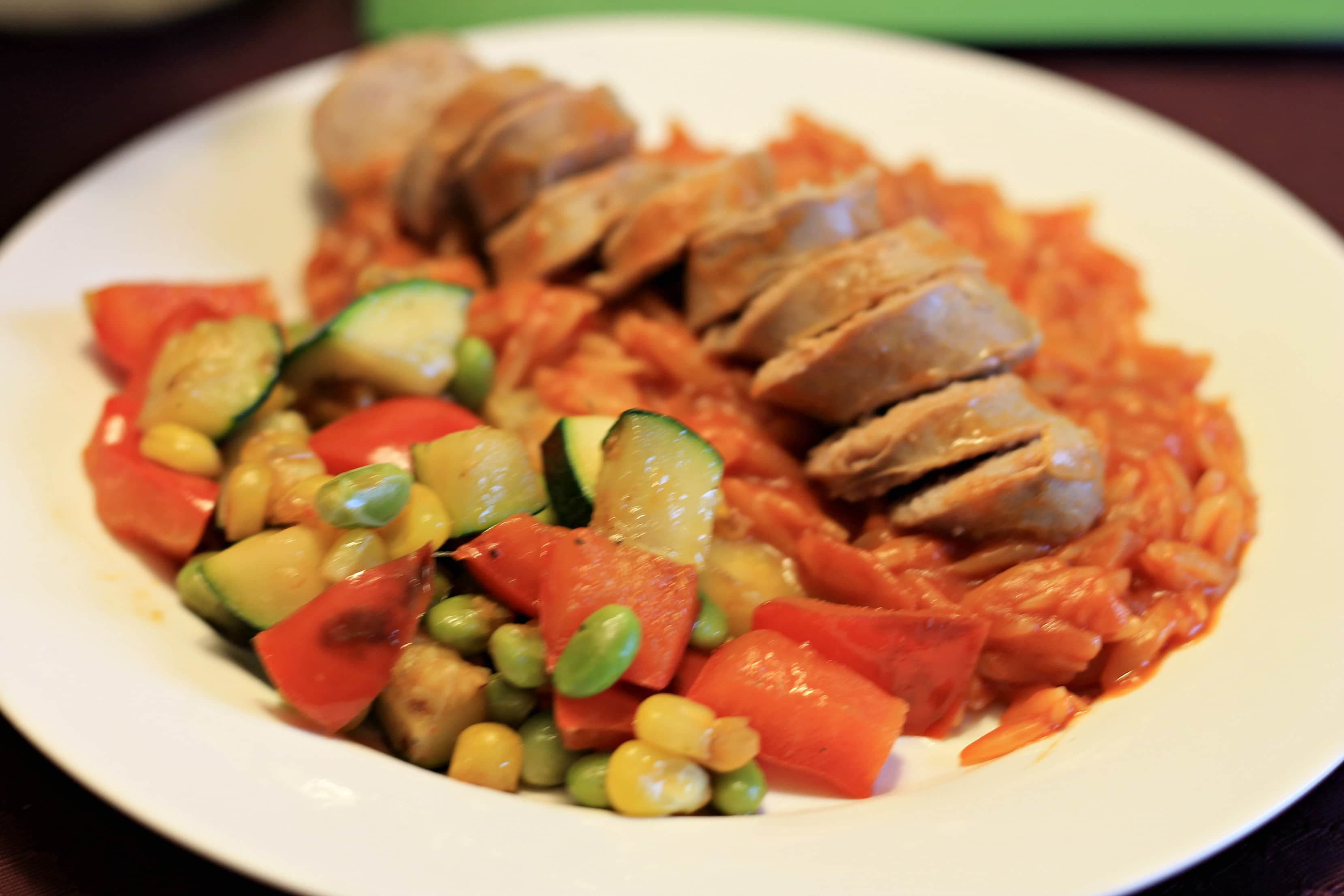 Italian Sausage with Veggie Succotash and Orzo