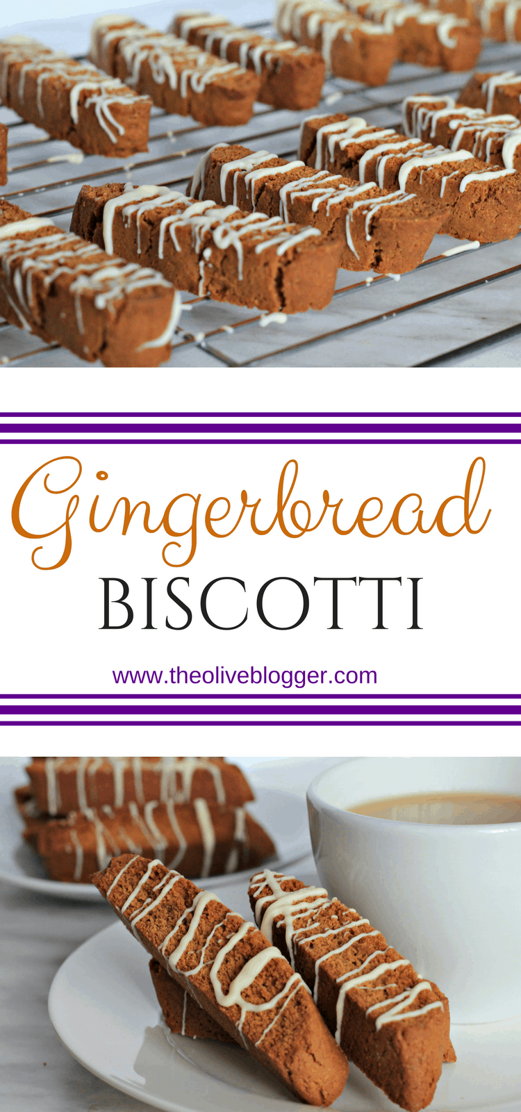 Gingerbread Biscotti - a fun take on a traditional Christmas cookie that everyone will love. The slight spice of the cookie goes well with a cup of coffee or tea. #Biscotti #Gingerbread #GingerbreadBiscotti #ChristmasCookies