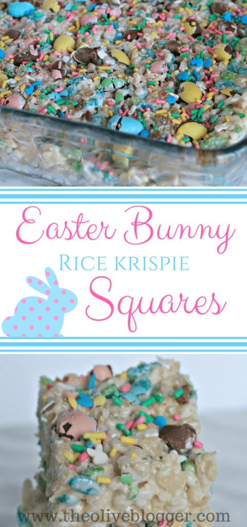 Easter Bunny Rice Krispie Squares are a super easy treat the entire family can make! Make them today and fill your basket with everyone's favorite snack. #RiceKrispies #EasterDessert #RiceKrispieSquares