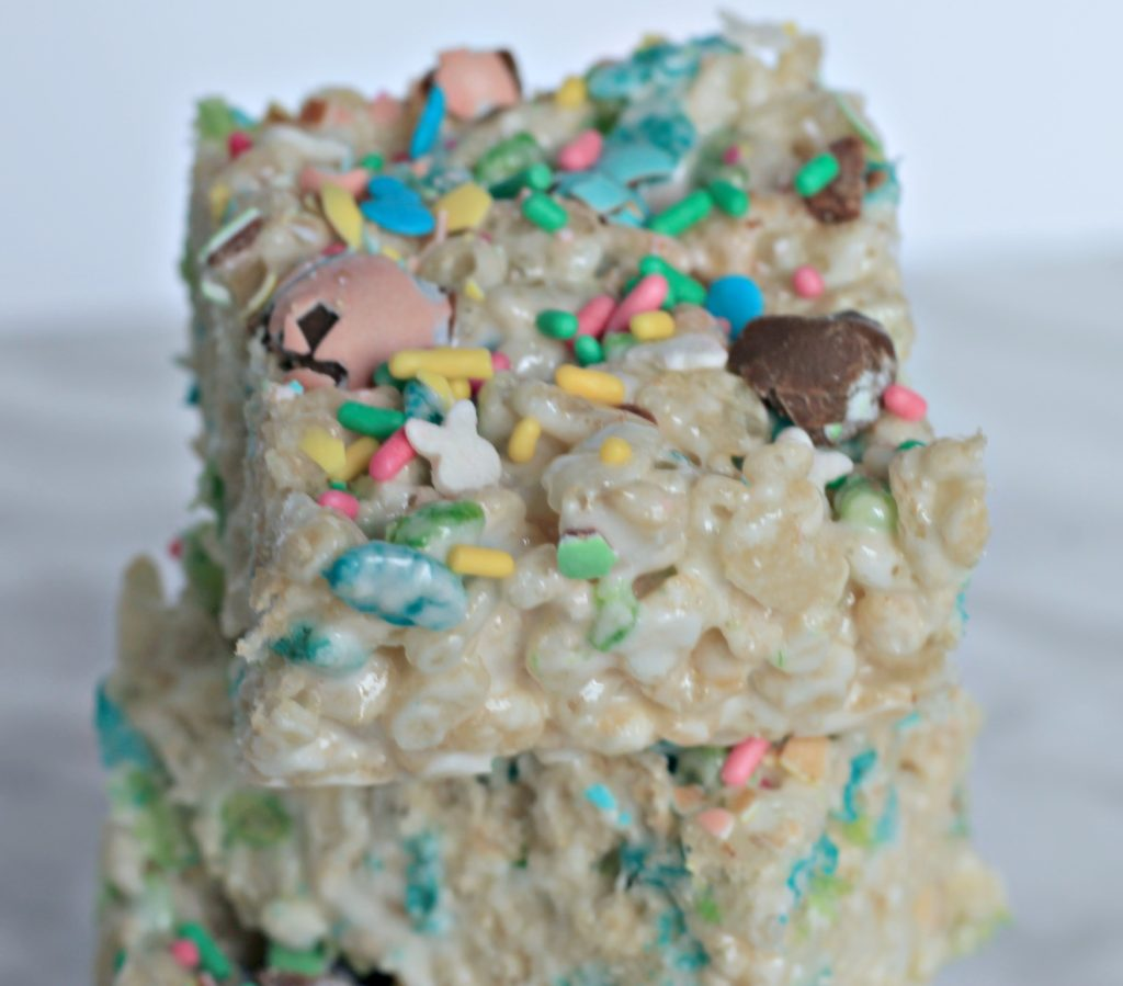 Stack of Easter rice krispies