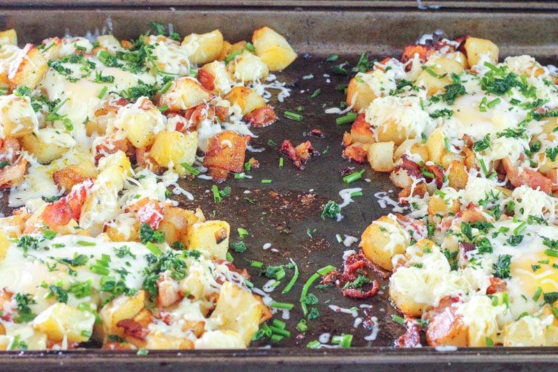 Potato Bacon Sheet Pan Breakfast on sheet pan