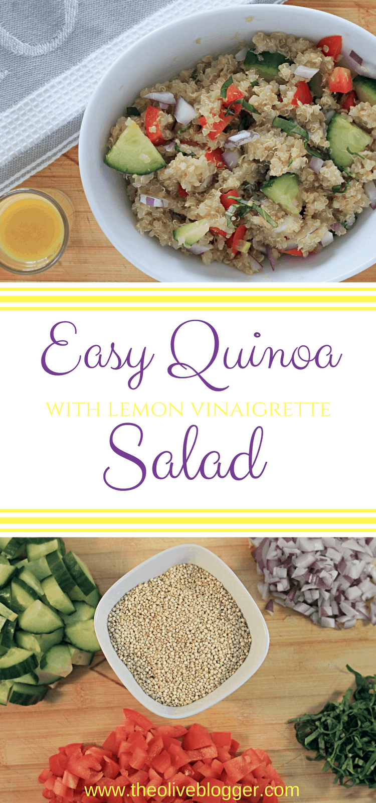 Quinoa Salad with Lemon Vinaigrette- Perfect side dish for picnics and BBQ's! #Salad #Quinoa #PicnicFood