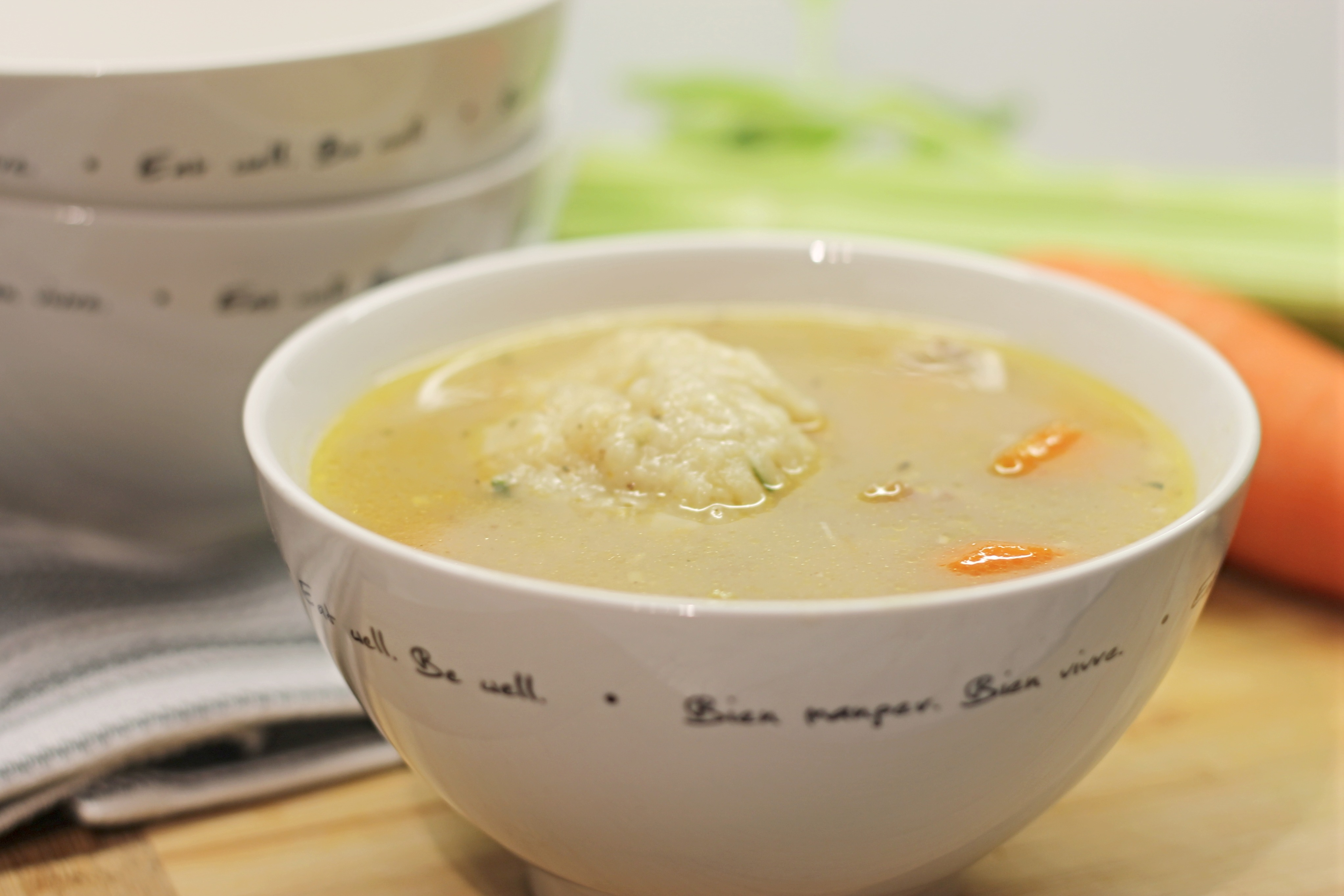 Chicken and Dumplings in Soup Bowl