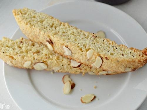Lemon Poppy Seed Biscotti on White Dessert Plate