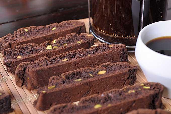 Chocolate Pistachio Biscotti Recipe - Cookies on cutting board