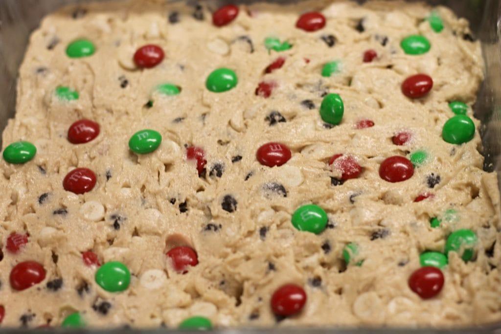 M&M Cookie Bars - Dough in 8x8 Baking Pan