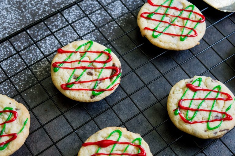 Red and Green Icing stripes on round Mint Sugar Cookies