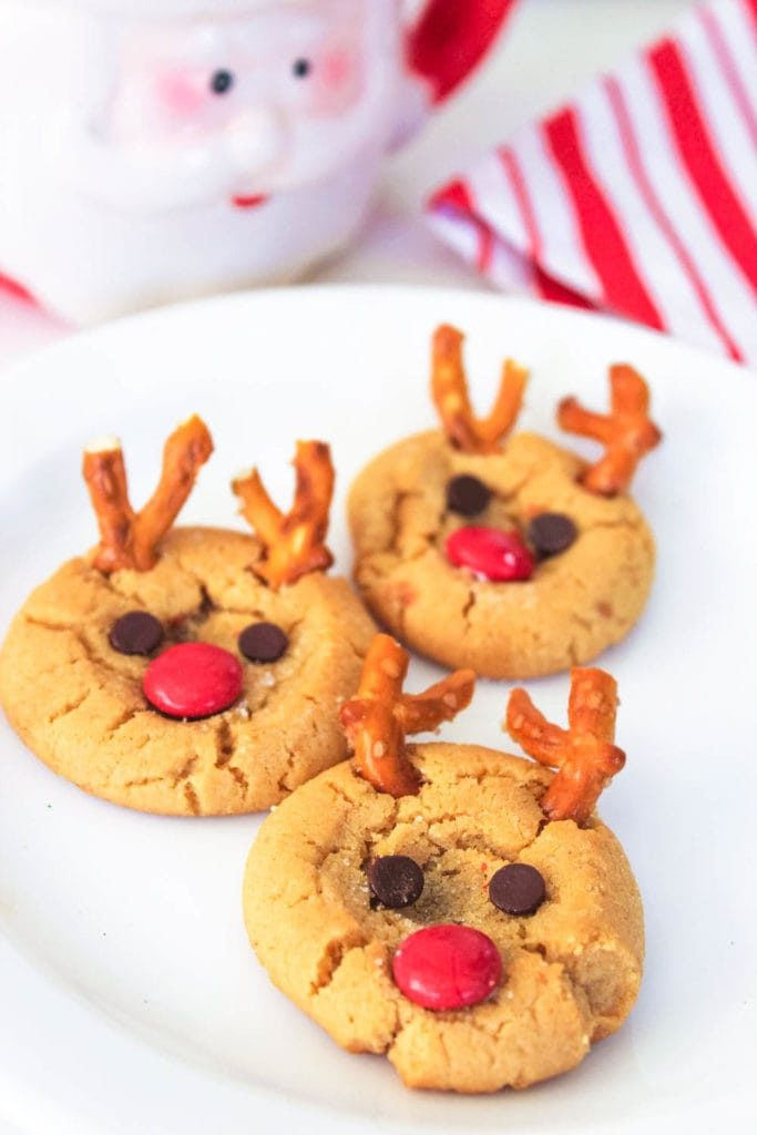 Peanut Butter Cookies for Santa - made to look like Rudolph with pretzels and candy
