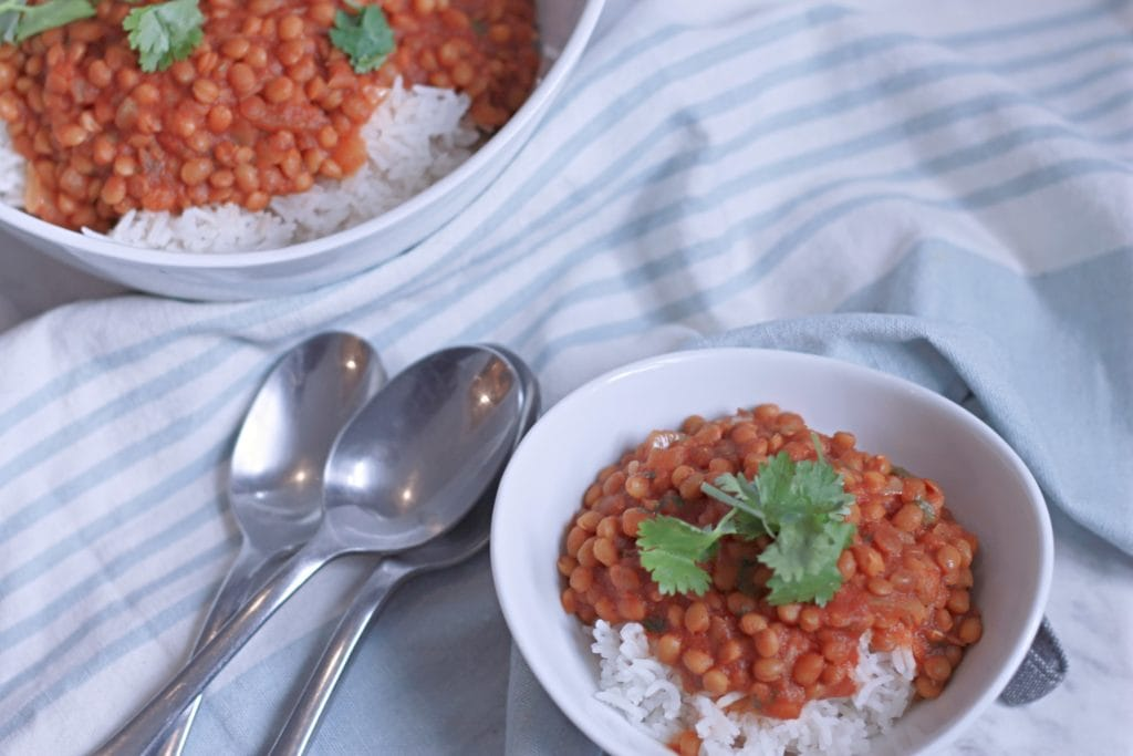 Easy Curried Lentils atop a bed of rice