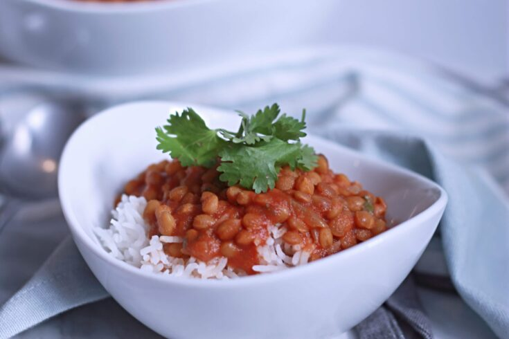 Bowl of Curried Lentils on a table