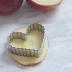 Apple slice with cookie cutter for Valentine Treats