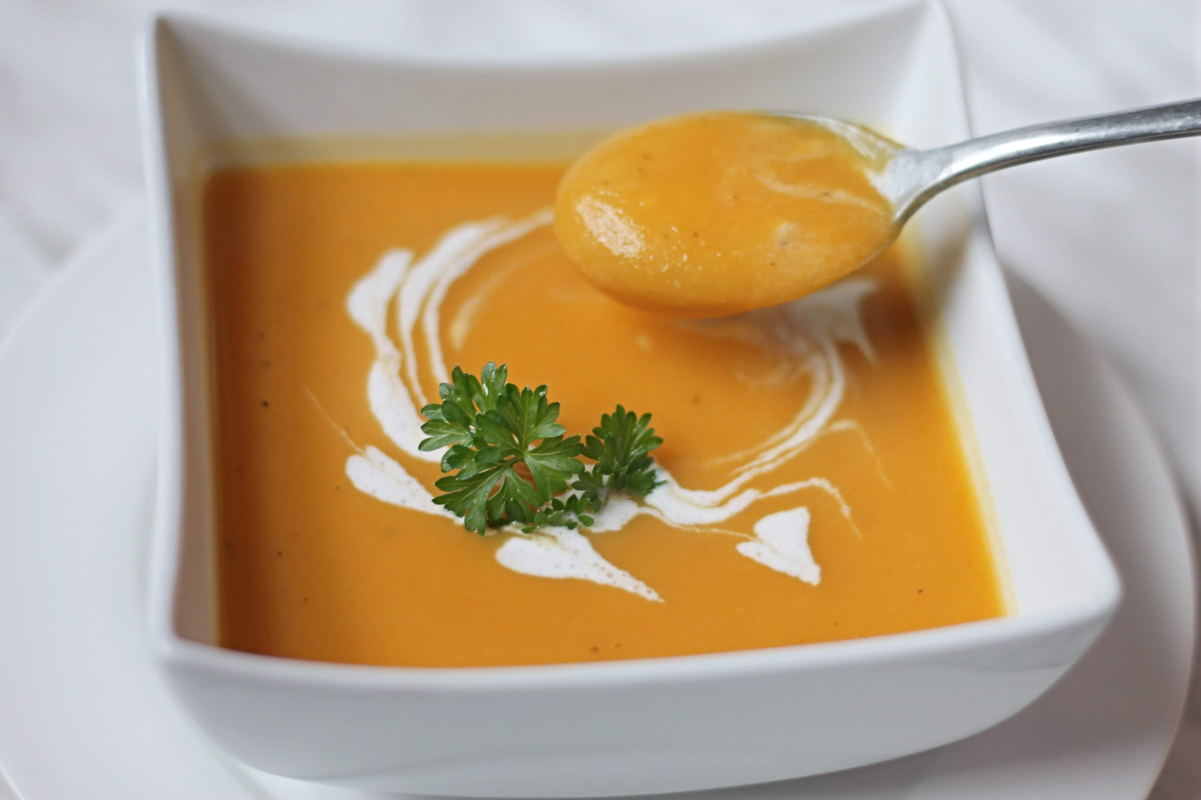 Creamy spoonful of Butter Nut Squash Soup