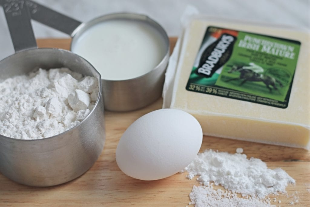 Soda Bread ingredients laid out on wooden cutting board