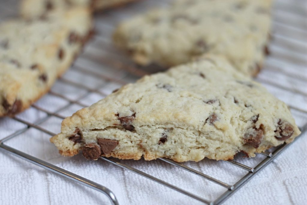 chocolate chip scones on cooling rack