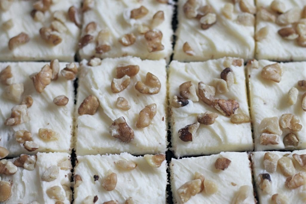 Banana Brownies with Frosting cut into squares