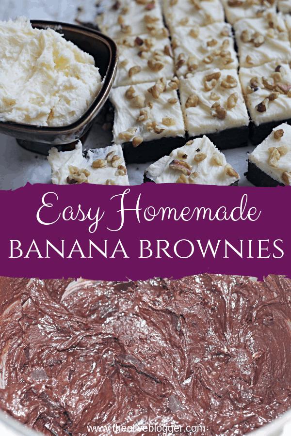 Chocolate Banana Brownies Pinable Image