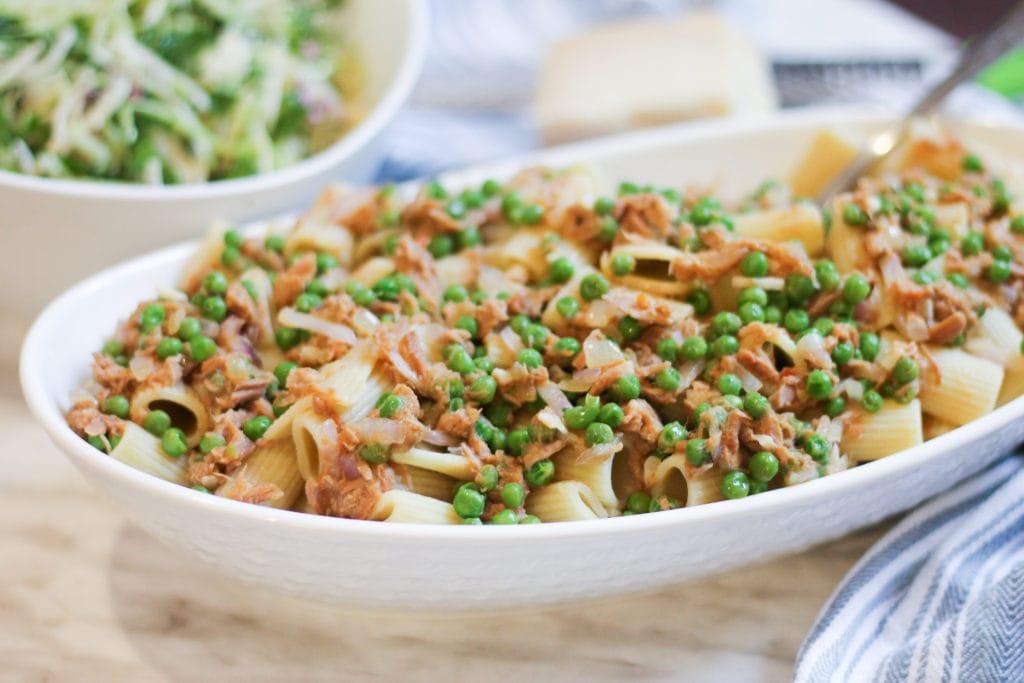 Tuna Pasta in white serving dish