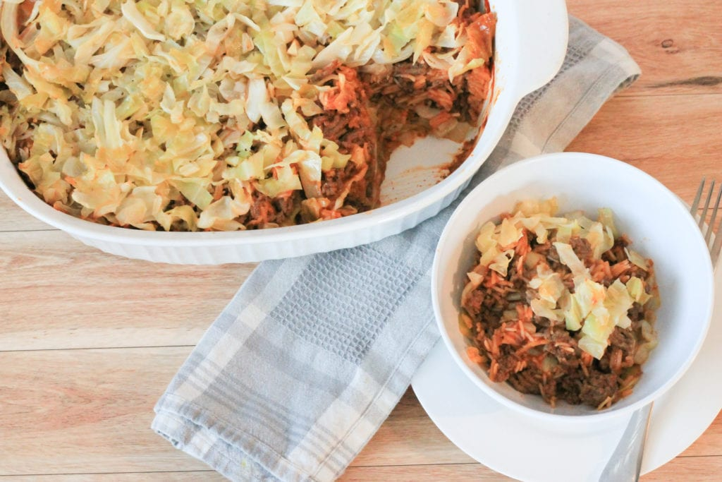 Unstuffed Cabbage Roll casserole in bowl with main casserole