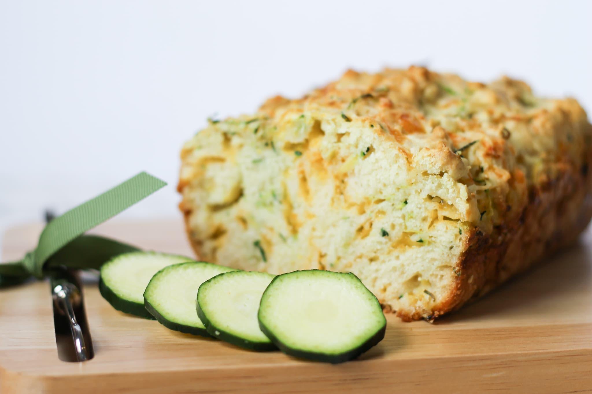 Zucchini Loaf on cutting board