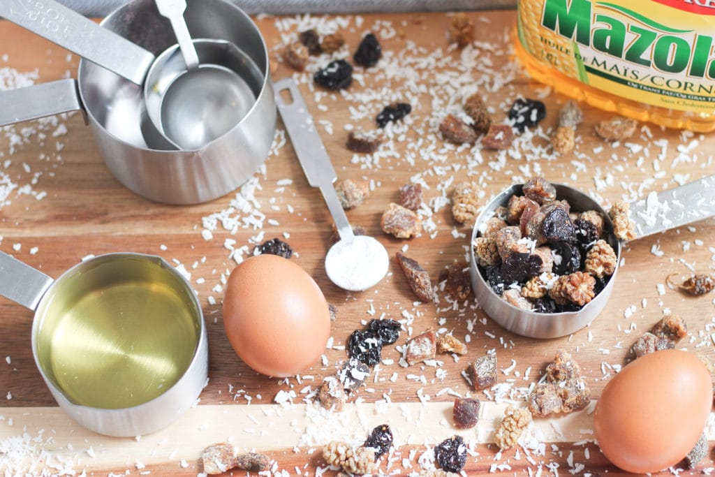 Ingredients for mixed berry muffins