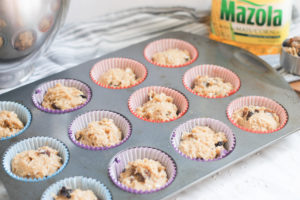 Berry Muffins in muffin tin before baking