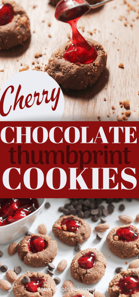 Chocolate Cherry Thumbprint cookies pin