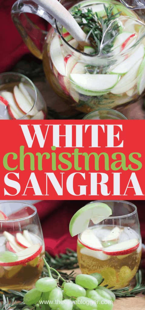 White Christmas Sangria Recipe with apples, grapes and sparkling apple juice