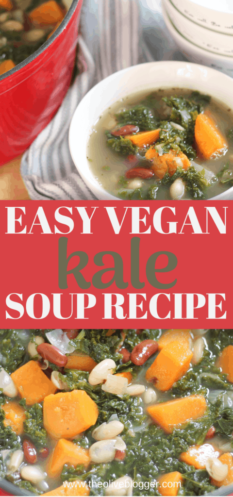 Hearty Soup recipe with kale, sweet potatoes and beans!