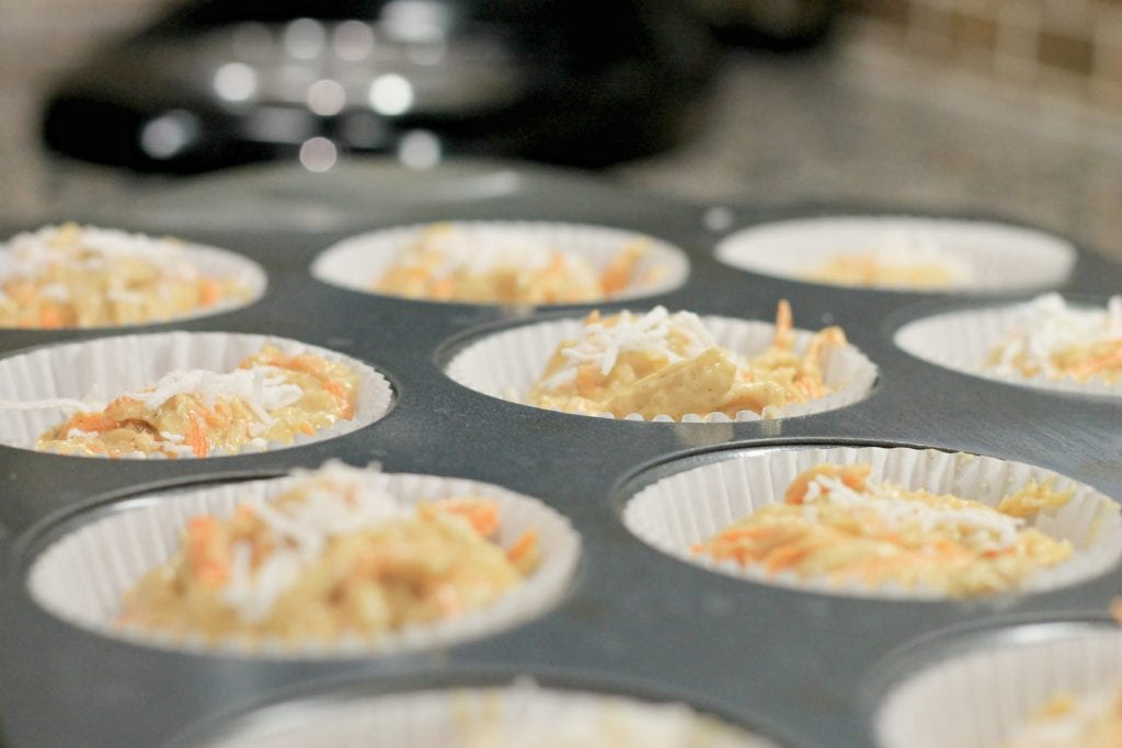 Muffin tin with batter filled muffin cups
