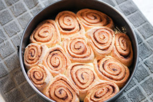 Fresh baked cinnamon rolls in springform pan